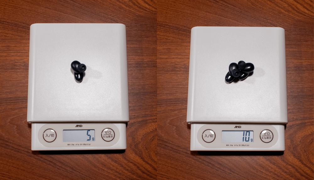 UGREEN HiTune X5の片耳と両耳の重量