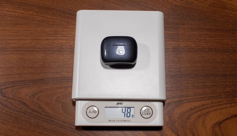 UGREEN HiTune X5のケースにイヤホン本体が入っている状態の重量