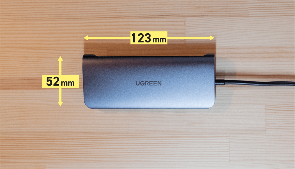UGREEN USB-Cハブ 10in1の縦と横の寸法