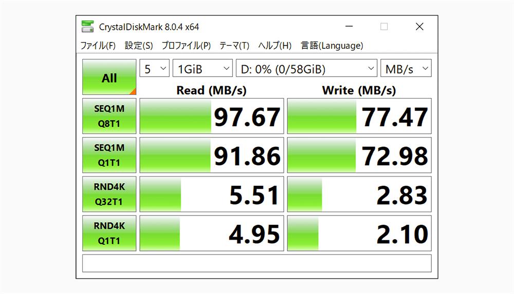 UGREEN USB-Cハブ 10in1に挿入したSDカードの転送速度結果