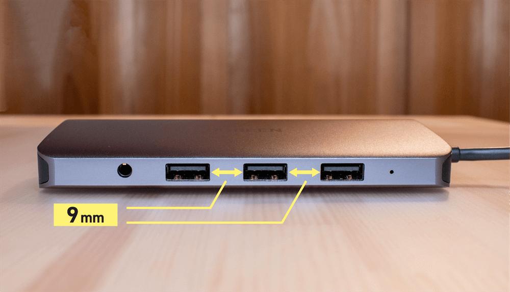 UGREEN USB-Cハブ 10in1にあるUSB-Aポートの間隔は9mm